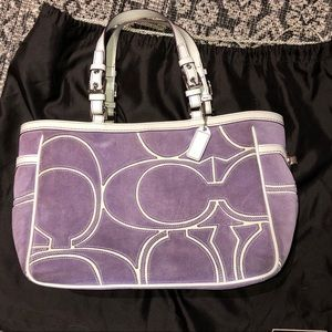 Purple suede Coach Tote purse! W/ dust bag